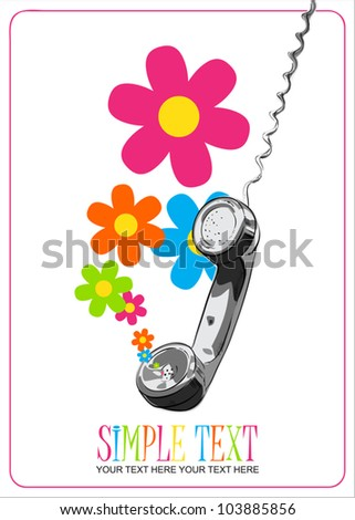 Abstract vector illustration with letefonny tube and flowers. - stock vector
