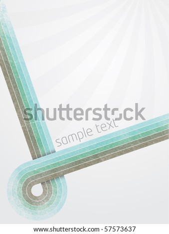 Abstract vector illustration with retro designed lines and gradient background with sunburst effect and shadow on line crossing