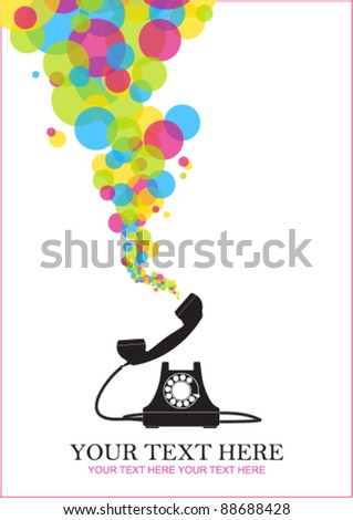 Abstract vector illustration with retro telephone and balloons. Place for your text. - stock vector