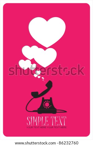 Abstract vector illustration with retro telephone and hearts. Place for your text. - stock vector