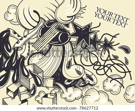 abstract vector illustration with stars, smoking pipes and waves - stock vector
