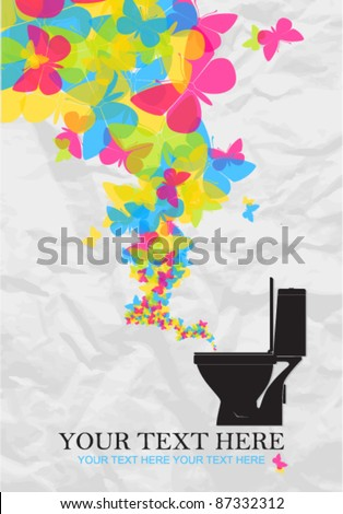 Abstract vector illustration with toilet bowl and butterflies. - stock vector