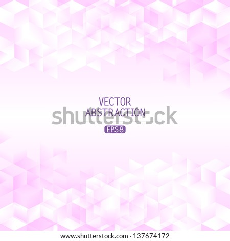 abstract vector illustration with transparent cubic facets - stock vector