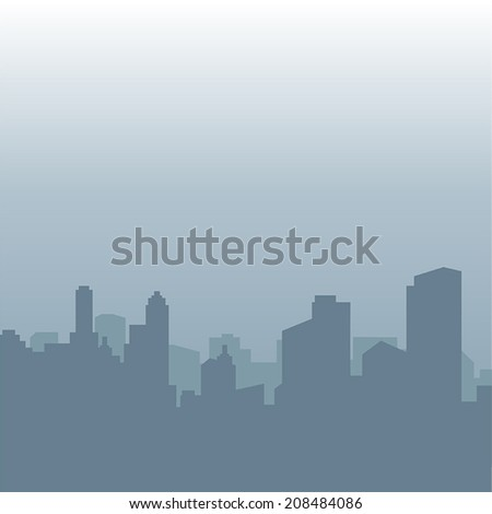 Abstract vector image of the city in the morning fog with dark outlines of buildings in shades of gray - stock vector
