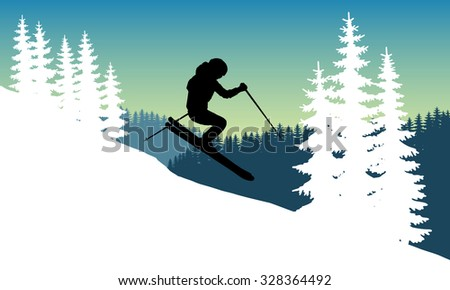 Abstract vector image silhouette of a skier descending at a speed jump on the background of mountains and snow covered spruce trees. Winter sport. Extreme descent from the mountain. Extreme sport. - stock vector