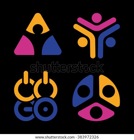 Abstract vector isolated colorful logos on black background. Sports Union logo. An association. Group. Vector logo set. Sports logos. Union logos. People logos. - stock vector