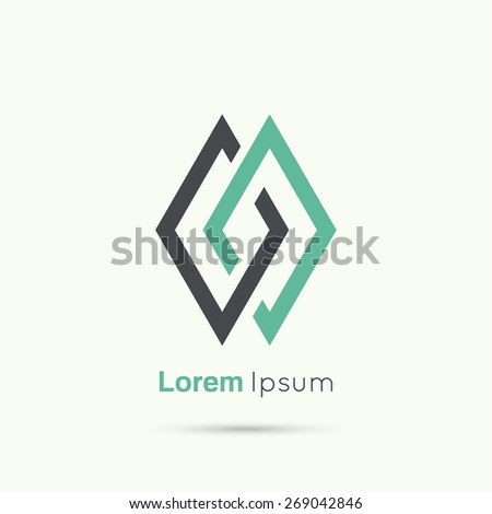 Abstract vector logo design template. Communication partnerships connected chain links - stock vector