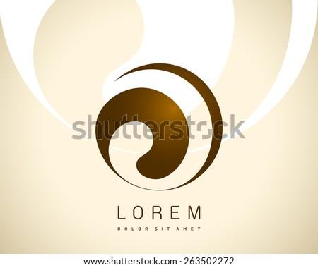 Abstract Vector Logo Design Template. Creative Brown Round Concept Icon  - stock vector