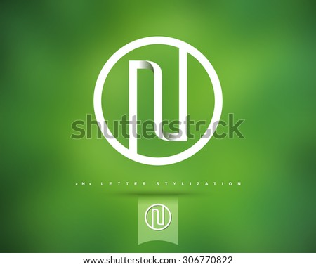 Abstract Vector Logo Design Template. Creative Concept Round Icon. Letter N Stylization  - stock vector