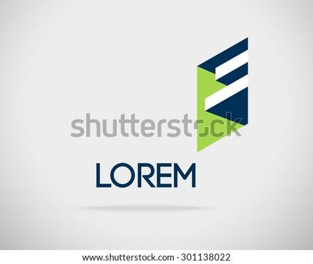 Abstract Vector Logo Design Template. Creative 3d Concept Icon. Letter E Stylization  - stock vector
