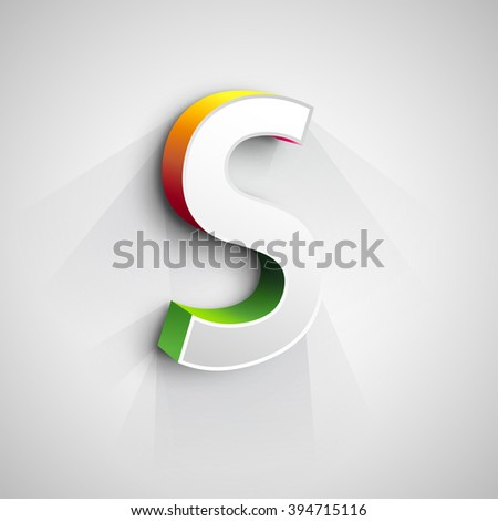 Abstract Vector Logo Design Template. Creative 3d Concept Icon. Letter S Stylization  - stock vector