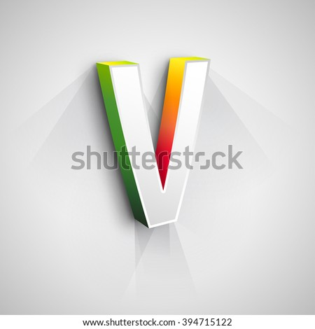 Abstract Vector Logo Design Template. Creative 3d Concept Icon. Letter V Stylization  - stock vector