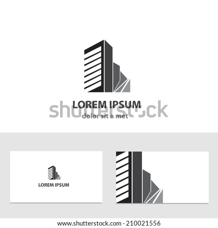 Abstract vector logo design template with business card - stock vector