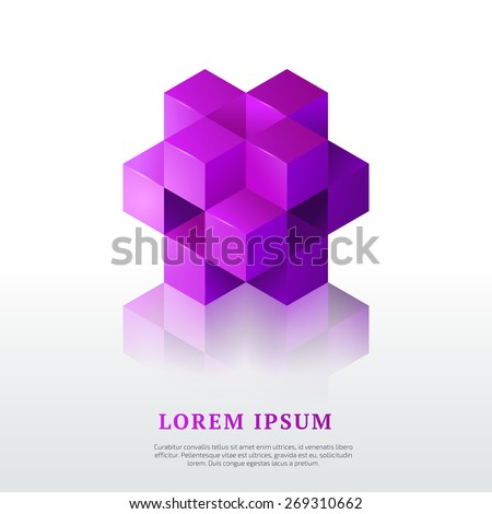Abstract vector logo template. Isometric design element. - stock vector