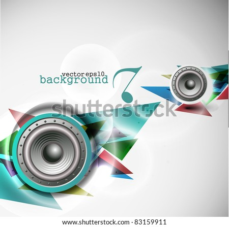 abstract vector loudspeakers, music theme background. - stock vector