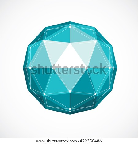 Abstract vector low poly object with black lines and dots connected. Green 3d origami futuristic form with black overlapping lines mesh. - stock vector