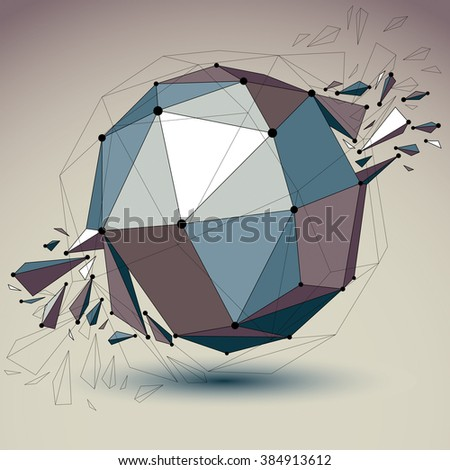 Abstract vector low poly wrecked object with black lines and dots connected. 3d origami futuristic spherical form with lines mesh. Digital technology network element. - stock vector