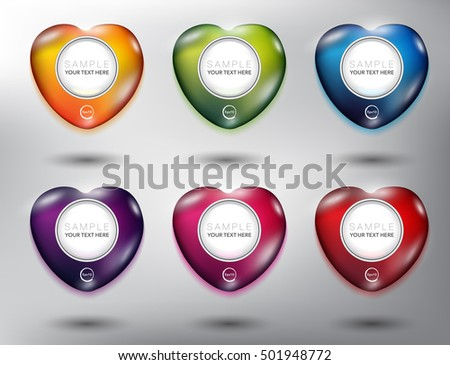 Abstract vector map pointers set of 6. Pebble stones in shape of heart. Colorful and glossy on the white panel. Each item contains space for own text. Vector illustration. Eps10.