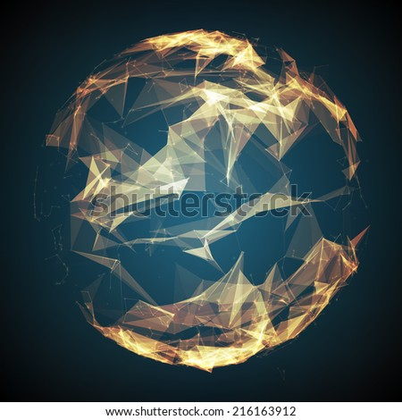 Abstract vector mesh background. Futuristic technology style. Elegant background for business presentations. Destroyed sphere. eps10 - stock vector