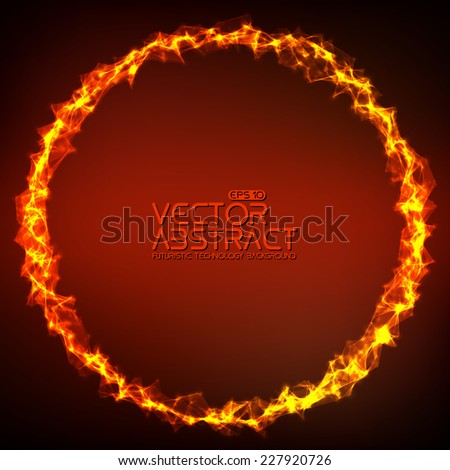 Abstract vector mesh background. Ring of fire. Futuristic technology style. Elegant background for business presentations. Flying debris. eps10 - stock vector