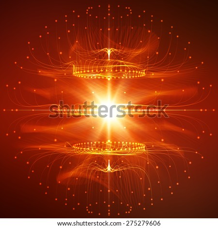 Abstract vector mesh background. Sphere of bioluminescent tentacles. Futuristic style card. Elegant background for business presentations. Eps10. - stock vector