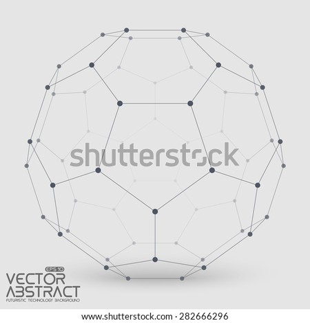 Abstract vector mesh sphere constructed with connected points on light background. Futuristic technology style. Elegant background for business presentations.Eps10 - stock vector