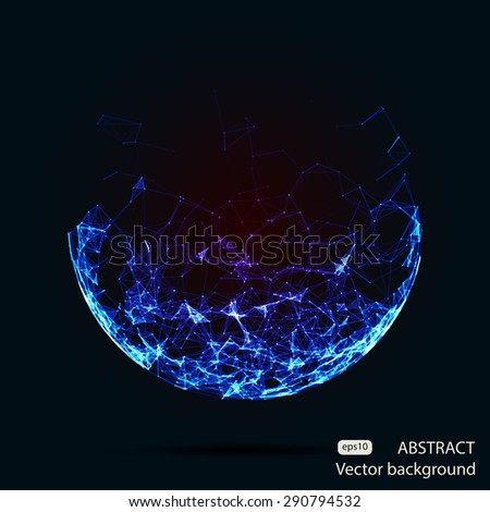 Abstract vector mesh spheres. Futuristic technology low poly style. Elegant dots background for business presentations. Flying debris lines. Illustration eps10 - stock vector
