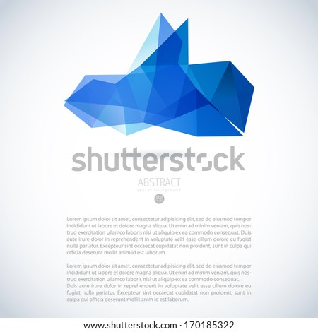 Abstract vector modern background with 3D triangle object  - stock vector