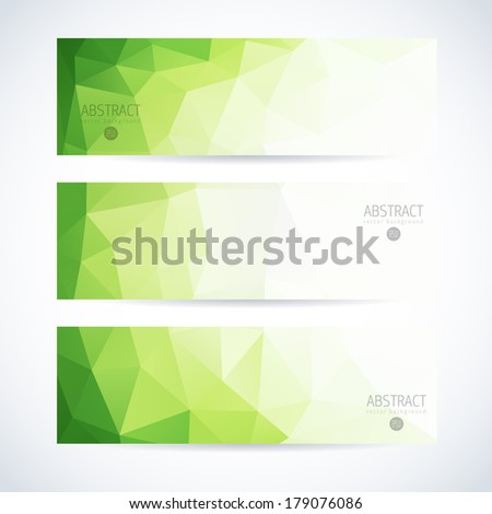 Abstract vector modern banner set with green triangle