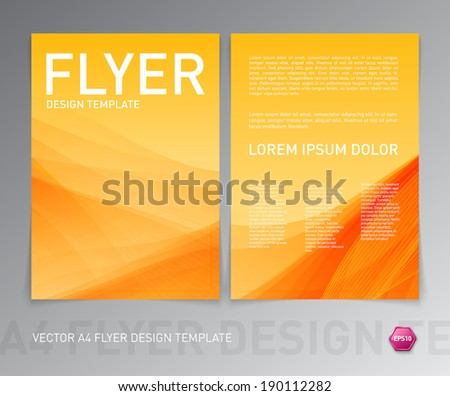 Abstract vector modern flyer / brochure design template. Smooth yellow background. - stock vector