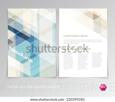 Abstract vector modern flyer / brochure design template with colorful geometric hi-tech background. - stock vector