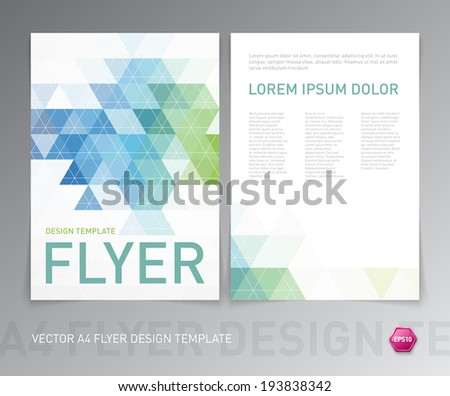 Abstract vector modern flyer / brochure design template with colorful geometric triangular background. Green and blue colors on white - stock vector