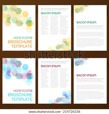 Clusterxs print media templates set on shutterstock abstract vector modern flyer brochure design templates collection with colorful geometric honeycomb backgrounds pronofoot35fo Image collections