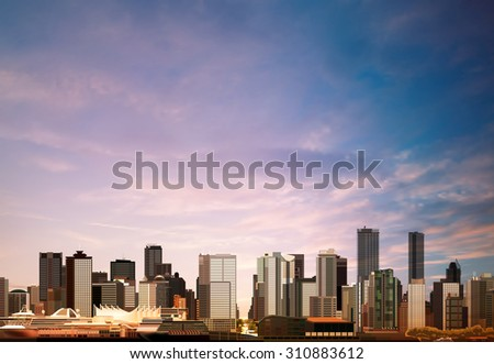 abstract vector morning background with panorama of vancouver