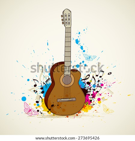 Abstract vector music background with guitar