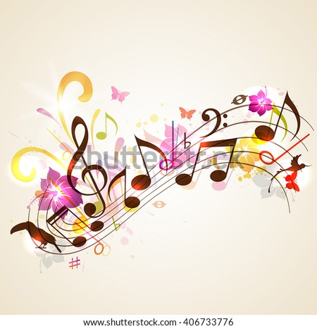 Abstract vector music background with notes and tropical flowers. Background for summer music party. - stock vector