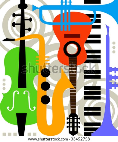 Abstract vector music instruments - stock vector