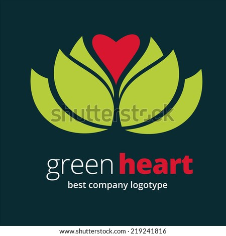 Abstract vector nature logotype with heart isolated on white background - stock vector