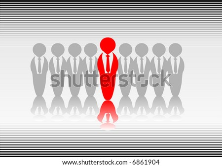Abstract vector of someone standing out from the crowd - stock vector