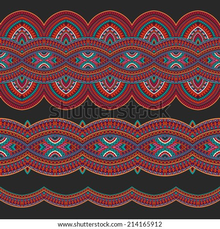Abstract vector ornamental ethnic seamless stripes. design elements set - stock vector