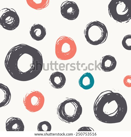 Abstract Vector Pattern. Simple Hand Drawn Round Brush Strokes. Paint Texture. - stock vector