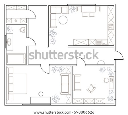 Abstract Vector Plan Of One Bedroom Apartment With Kitchen Bathroom Laundry Room
