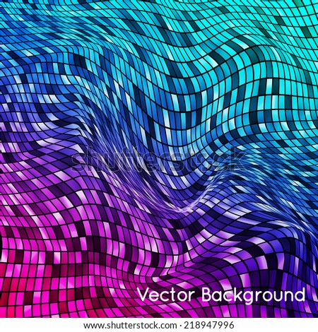 Abstract vector plane background grid. Three-dimensional plane with pit on it. - stock vector