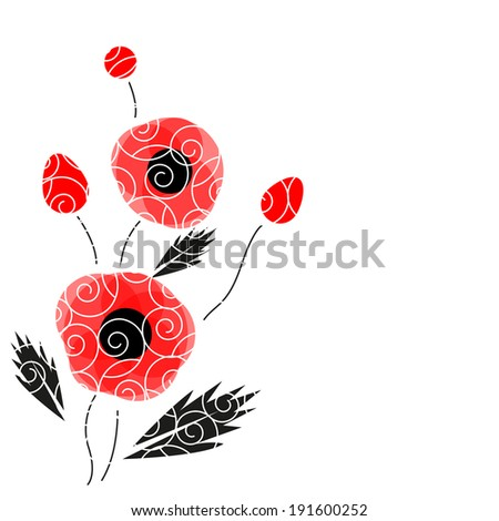 Abstract vector poppies isolated on a white background - stock vector