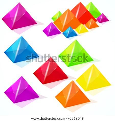 Abstract vector pyramids. - stock vector