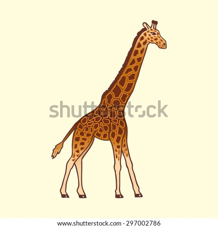 abstract vector realistic portrayal of an adult giraffe with a gradient in motion on a white background