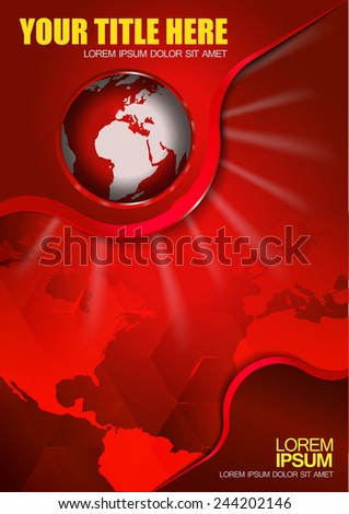 Abstract vector red background with continents and globe for brochure  - stock vector