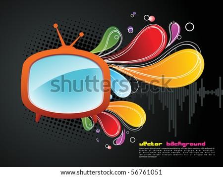 abstract vector red retro tv set - stock vector