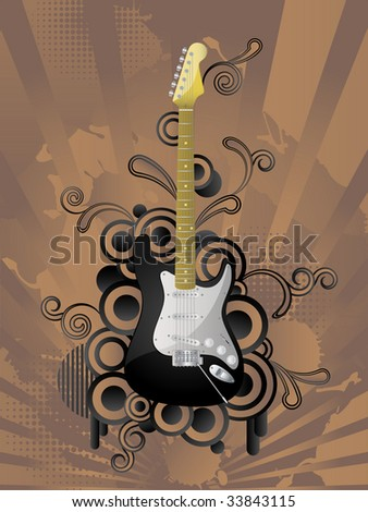 Abstract vector retro background with the guitar. - stock vector