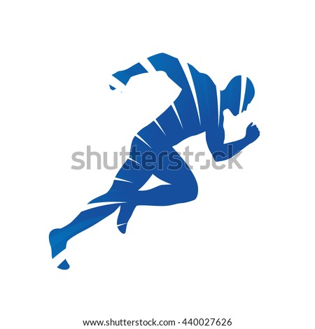 Abstract vector runner. Blue rays, running man silhouette